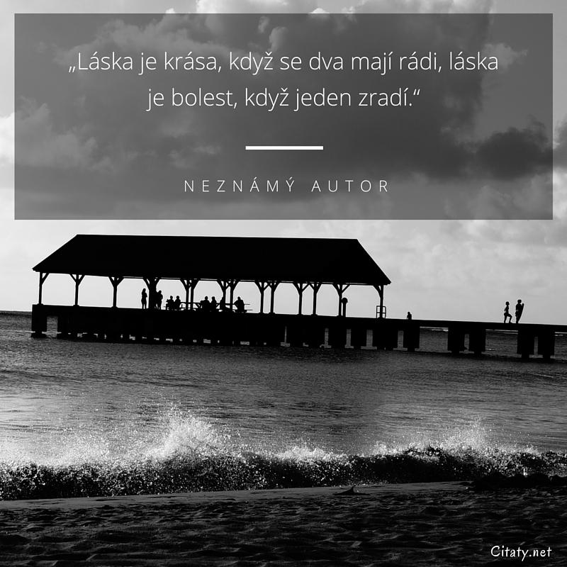 """citáty bolest Neznámý autor citát   """"Láska je krása, když se dva mají rádi  citáty bolest"""